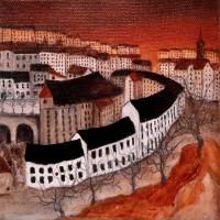 Dean Village, Edinburgh, oil on canvas (15x15cm)