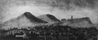Edinburgh, Arthurs Seat, etching