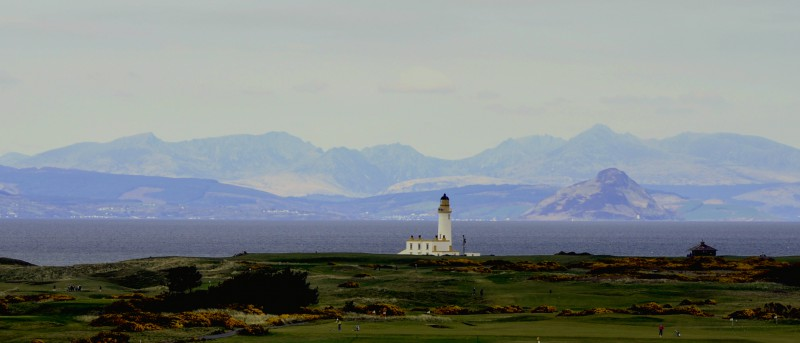 Turnberry Lighthouse and Arran from The Hotel