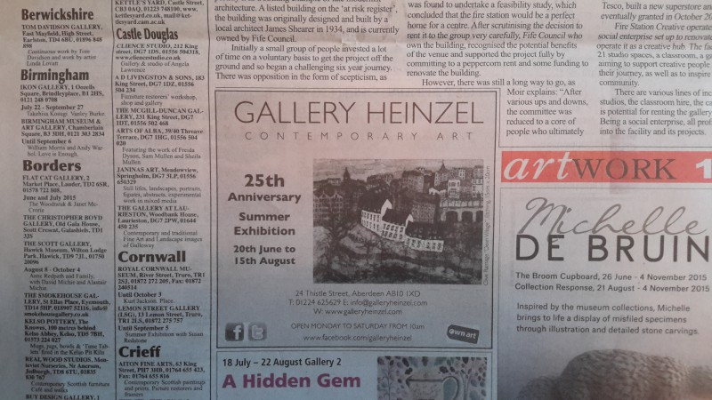 Gallery Heinzel Advert in Art Work, featuring my etching 'Dean Village'