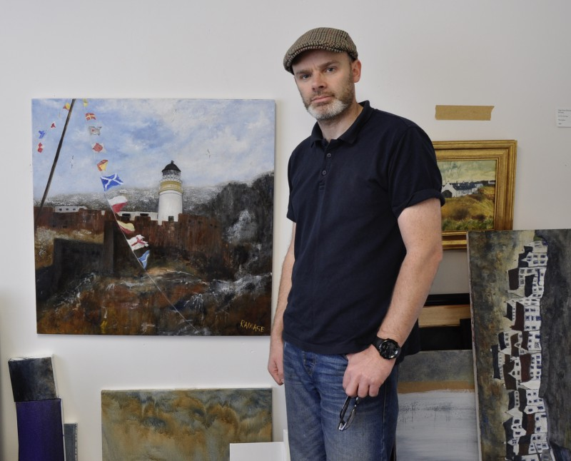 In my studio with  The Bass Rock Light  (oil on canvas 80x80cm)