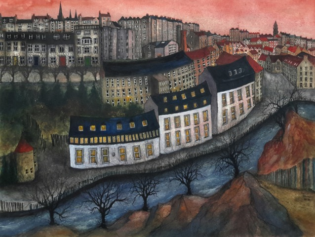 Dean Village Sunset (Pink & Blue) 67x50cm