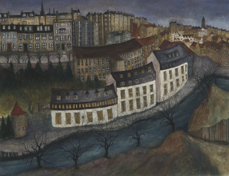 Dean Village at Dusk (Blue & Green) 67x50cm
